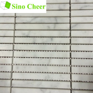 Natural White Marble Strip Mosaic Tile pictures & photos