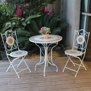American Combination, Wrought Iron Cafe Tables and Chairs, Leisure Round Table Courtyard Balcony Outdoor Three-Piece Tea Table (M-X3400) pictures & photos
