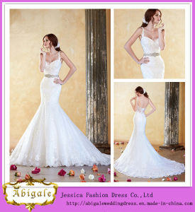2014 New Model Floor Length Mermaid Spaghetti Straps Long Elegant Wedding Dresses (WD32)
