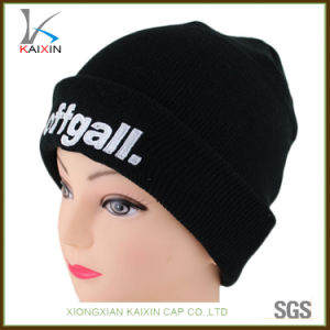 5960a40f 100% Acrylic Custom Knitted Cuff Beanies with 3D Logo Embroidery