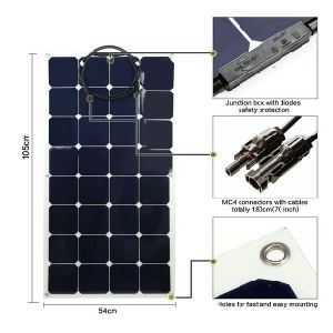 China Manufacturer High Efficiency Per Watt Semi Flexible Solar Panel 100W