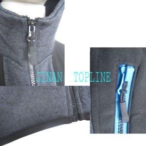Cationic Dyed Polar Fleece Micro Fleece Hoody Stitching Color Wind-Proof Casual Jacket pictures & photos
