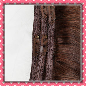 Hot Sale Brazilian Hair Clip-on Extensions 14inch Brown Color pictures & photos
