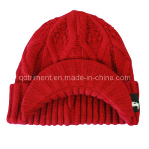 Acrylic Roll up Crochet Knitted Brimmed Cabbie Beanie Hat (TRK039) pictures & photos