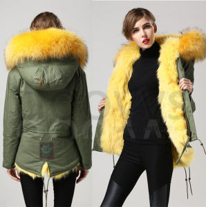 China 2015 New Warm Women Winter Outerwear Yellow Ladies Real Fox