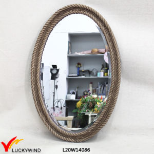 Antique Vintage Brown Oval Wooden Mirror with Rope pictures & photos