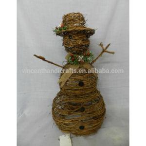 China Country Primitive Christmas Decorative Rattan Snowman China Rattan Snowman And Christmas Snowman Price