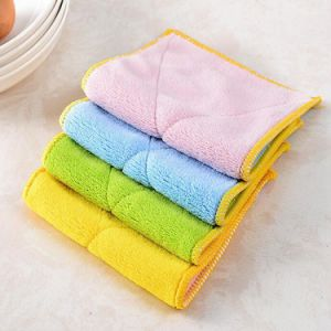 1pcs Bamboo Fiber Clean Dish Cloth Double Sided Suction Water Thick Towel Kitchen Wiping Rags Non Stick Oil Kitchen Supplies