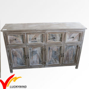Large 4 Door Rustic Cabinet Distressed Reclaimed Finish Wood Sideboard pictures & photos