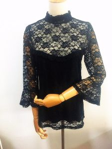 Women High Neck Flare Sleeve Nylon Spandex Lace Tops
