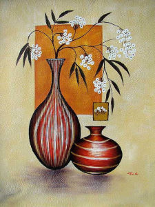 Hot Selling Home Decor Beautiful Flower Vase Colorful Flower Oil Painting (LH-383000) pictures & photos