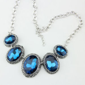 Big Size Blue Crystal Glass Fashion Briliant Jewelry Necklace pictures & photos