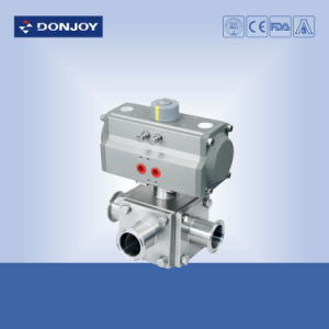 Ss 304 Three-Way Pneumatic Non-Retention Ball Valve with Clamped Ends pictures & photos