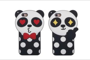 3D Creative Cartoon Panda Colorful Logo Cover Soft Silicone for iPhone 6 6splus Cell Phone Case (XSDW-042)