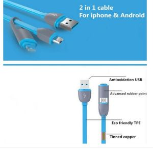 New Design Phone Accessories 2 in 1 USB Charger Data Cable
