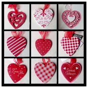 Wooden Heart Shapes Large Shabby Hanging Heart Red Happy Valentines Day Wood Plaque Ornament