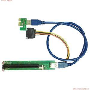 China Ver  002 Big 4 Pin PCI-E X1 to X16 Riser Card - China