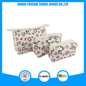 2017 Best Sale Canvas Cosmetic Bag Three Bags Set with Printed Logo pictures & photos
