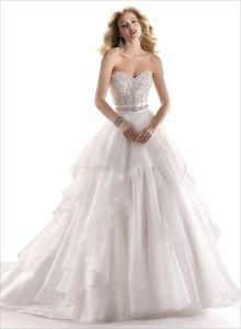 2014 Ivory Strapless Empire Beading Organza Bridal Wedding Dress (SCL-WD048)