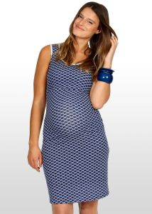 Navy Scallop Print Maternity Dress/ Women Dress/ Ladies Dress