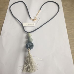 Cotton Ball Grey Necklace with Metal Tassel Fashion Jewelry 2017