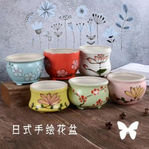 Japanese Style Hand-Painted Flowerpot pictures & photos