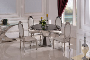 China Round White Black Marble Top Dining Table Stainless Steel For 8 Chairs People China Dining Table Glass Dining Table