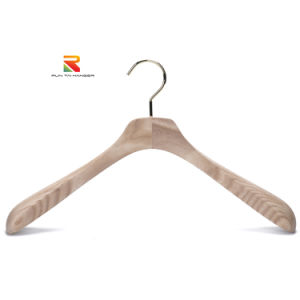 Luxury Ash Wood Coat Wooden Hanger with Wide Shoulder