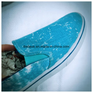 Slip on with Elastic Cord and Washed Denim Design Upper Blue Color Shoes