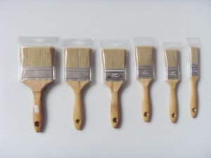 Wooden Handle Vanished Paint Brush (6422) with White Bristle