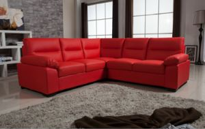 UK Style Red Color Bonded Leather Corner Sofa of Home Furniture