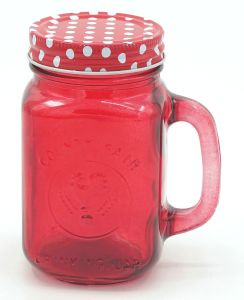 Red Rooster Drinking Color Lid Mason Jar with Handle