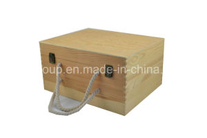 Customized Pinewood Six-Bottle Wooden Wine Box pictures & photos