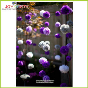Purple Tissue Paper POM Poms Garland for Wedding Decoration