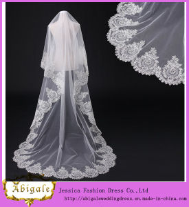 New Elegant Two-Layer Tulle Lace Edge Appliques Long Ivory Cathedral Wedding Veil Bridal Accessories Yj0132