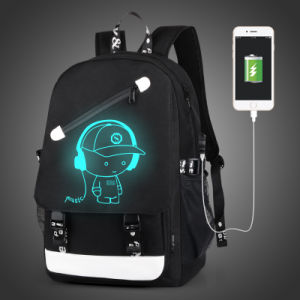 Luminous Backpack with USB Port and One Pencil Case