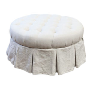 China White Fabric Circle Round Upholstered Button Tufted