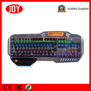 Professional USB Mechanical Keyboard with Brushes Panel