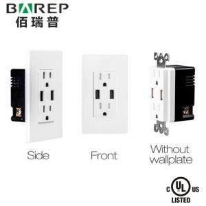 GFCI Electric Outlet UL Approved with 4A Fast Charging USB Receptacle Bas15-2USB