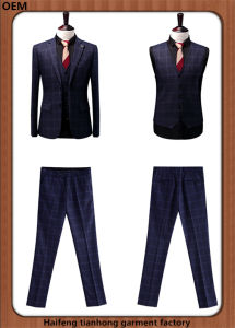 Modern 3 Piece Men Plaid Best Business Suits