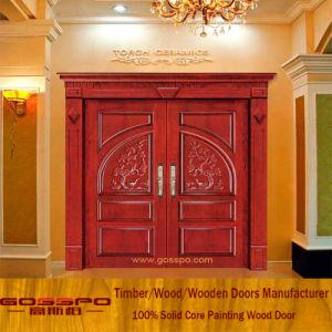 Solid Wood Carving Exterior Wood Door Entrance Double Door (XS1 019)