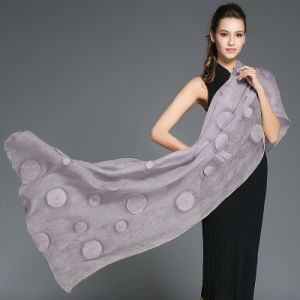 Women Purple Silk Georgette Long Scarf