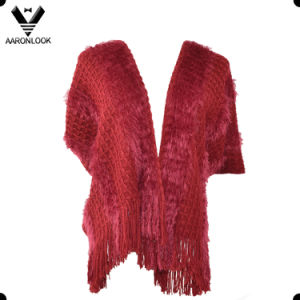 Women Long Feather Soft Knit Shawl with Short Sleeves