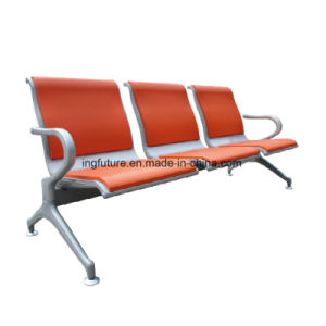 3-Seat Comfortable Orange Leather Waiting Room Chair