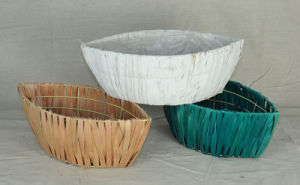 Colorful Handwoven Wooden Chip Garden Planter