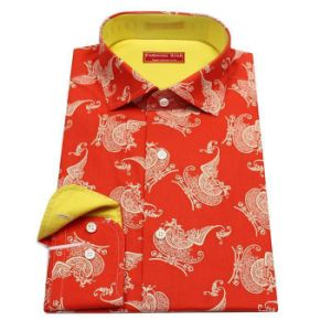 Pur Cotton Red with Animal Pattern Dress Shirt, Fashion Shirt