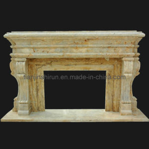 Travertine Stone Carving Fireplace, Marble Carving Mantel (XF249)