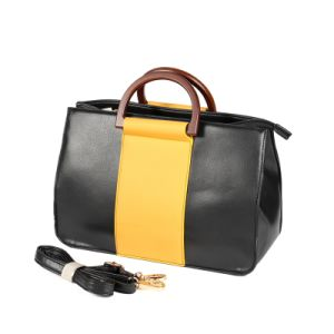 China Pu Leather Wood Handles Tote Bags