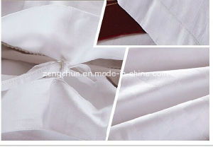 Hotel Use Polycotton White Satin Fabric Bed Sheet Set pictures & photos