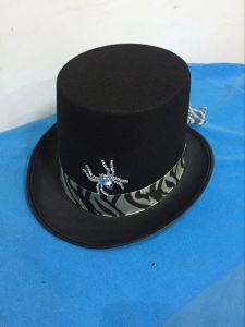2017 Wholesale Good Quality Decoration Party Top Hat with Silver Spider